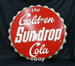 Vintage Large The Golden Girl Sun-Drop Cola Bottle Cap Design Sign 33 Round