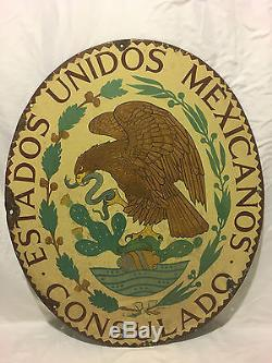 Vintage Large Unitated States of Mexico Consulate Porcelain Sign