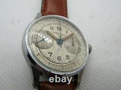 Vintage Leonidas Landeron 48 Triple Signed Chronograph Pre Heuer Circa 40's