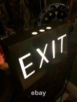 Vintage Light Up Illuminated exit theatre cinema pub Sign Man Cave