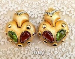 Vintage MARESCA signed earrings Matte Gold Cabochon Gripoix green red colors