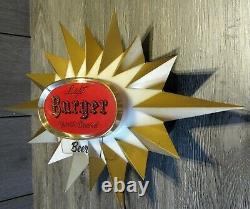Vintage MCM Burger Beer Sparkle Brewed Starburst Electric Wall Motion Light Sign