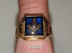 Vintage Masonic Ring 10k Yellow Gold Size 10 Signed Hallmarked