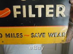 Vintage Metal Sign AC Oil Filter Embossed 4-32 Older Logo Gas Oil Non Porcelain