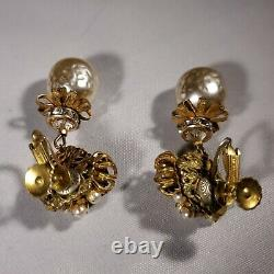 Vintage Miriam Haskell Signed Faux Baroque Pearl Rhinestone Drop Dangle Earrings