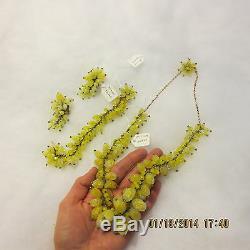 Vintage Miriam Haskell Signed Lemon Drop Full Parure Necklace Earrings Bracelet