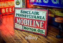 Vintage Mobiline Sinclair Sign 1920's Tin Gas Oil Station Advertising RARE