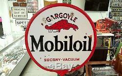 Vintage Mobiloil Gargoyle Socony Dbl Sided Porcelain Lollipop Sign Original Base