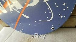 Vintage Nasa Porcelain Stars Planet Stars Meatball Old Aviation Aeronautics Sign