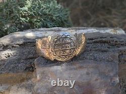 Vintage Navajo Story Teller Round Bracelet Sterling Silver Signed Native Jewelry