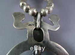 Vintage Navajo or Zuni Signed ML Silver & Turquoise Frog Fetish Necklace
