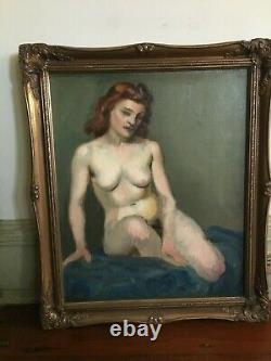 Vintage Nude Woman Oil Painting Mid Century Framed Signed Proser