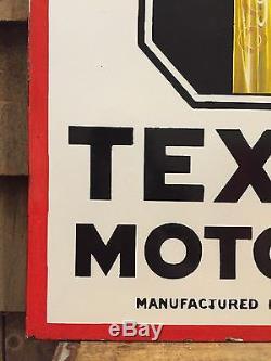 Vintage ORIGINAL Porcelain TEXACO Motor Oil Gas Station Flange Sign AMAZING