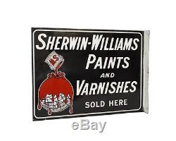 Vintage Original 1930's Sherwin Williams Paints Porcelain Flange Sign