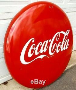Vintage Original 1950s Porcelain 48 Coca Cola Red Disc Button Advertising Sign