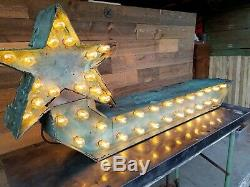 Vintage Original 50's Arrow Lighted Marquee Sign Double Sided