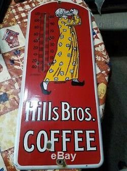 Vintage Original Advertising Hills Bros Coffee Porcelain Thermometer Pat. 1915