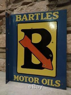Vintage Original Bartles Motor Oil Porcelain Flange Sign Wadhams Gas Station WI