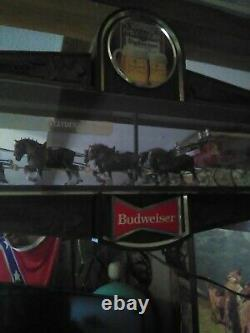 Vintage Original Budweiser Beer Champion Clydesdale Horse Team Lighted Sign