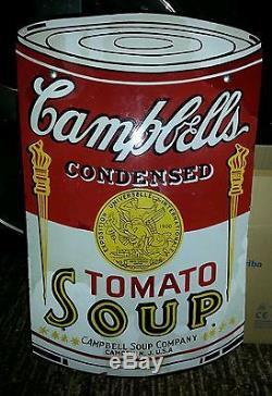 Vintage Original Campbells Tomato Soup porcelain sign Camden NJ Rare nice Warhol
