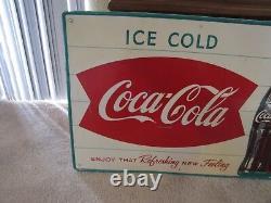 Vintage Original Coca-cola Tin Sign Bottle Bowtie Double Fishtail Ice Cold Coke