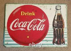 Vintage Original Embossed Tin COCA COLA Button & Bottle Sign Circa 1959 Nice