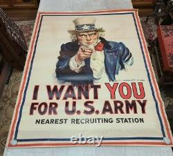Vintage Original James Montgomery Flagg Uncle Sam US Army Recruiting Poster WWI