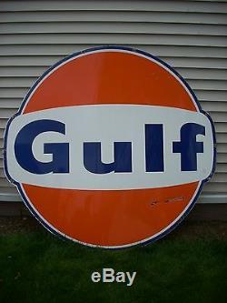 Vintage Original Large Gulf Single Sided Porcelain Sign