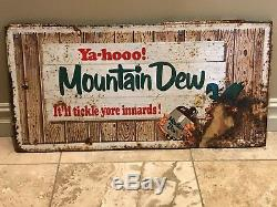 Vintage Original Mountain Dew Hillbilly Metal Embossed Mt Dew Sign Soda Pop