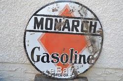 Vintage Original Porcelain Monarch Oil Co Gasoline Sign 42 Alberta Station