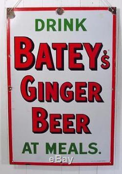 Vintage Original c1920 Batey's Ginger Beer Enamel Advertising Sign
