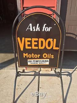 Vintage PORCELAIN VEEDOL Gas Oil Curb Sign DOUBLE Sided Withframe 1932