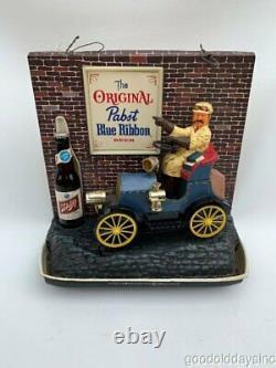 Vintage Plastic Pabst PBR Beer Sign Old Car Light Up Bar Sign 1960