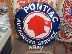 Vintage Pontiac Authorized Service Single Sided Porcelain Sign Round 42
