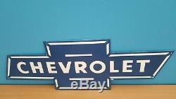 Vintage Porcelain Chevrolet Service Station OK Dealership Gas Oil Trucks GM Sign