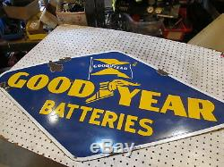 Vintage Porcelain Goodyear Batteries Sign 1946 Double Sided 48 X 26.5