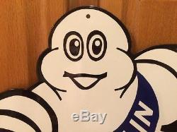 Vintage Porcelain Michelin Tire Man Sign Oil Gas Gasoline NOS Advertise Garage