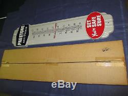 Vintage Porcelain PRESTONE Antifreeze Thermometer SignNOSNewithOld Stock withBox