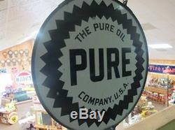 Vintage Pure Motor Oil Sign with Original Ring 42 Round