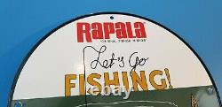 Vintage Rapala Fishing Tackle Porcelain Saltwater Reels Sales Lures Sign