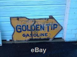 Vintage Rare Stoll Kentucky Golden Tip Gas Oil Double Sided Porcelain Arrow Sign