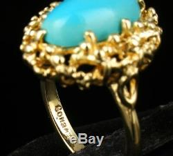 Vintage Retro Signed Estate Natural Persian Turquoise Solid 14k Yellow Gold Ring
