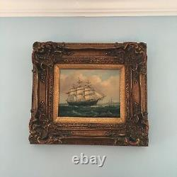 Vintage Robert Sanders Artist Signed Maritime Ship Oil Painting 17 1/2 W x 16