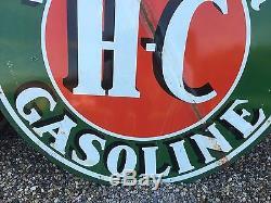 Vintage SINCLAIR H-C Gasoline DSP PORCELAIN Gas Oil Station Pole sign 72 HUGE