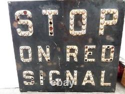 Vintage STOP ON RED SIGNAL RAILROAD RR Train SIGN