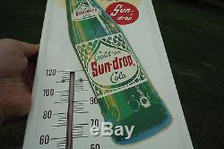 Vintage SUN DROP Golden Cola Thermometer Sign Coffee Break Rare NICE SHAPE