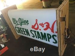 Vintage S&h Green Stamps Light Up Sign Add To Porcelain Sign Collection