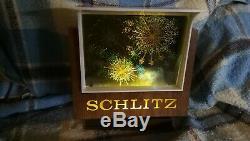 Vintage Schlitz Beer Animated Motion Fireworks Lighted Sign