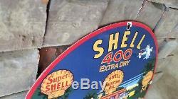 Vintage Shell Gasoline Porcelain Gas Motor Oil Service Station Pump Plate Sign