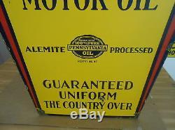 Vintage Sign 1930 Alemite Pennsylvania Oil Art Deco Double Sided Porcelain Sign